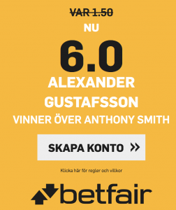 UFC Sverige Alexander Gustafsson Oddsboost