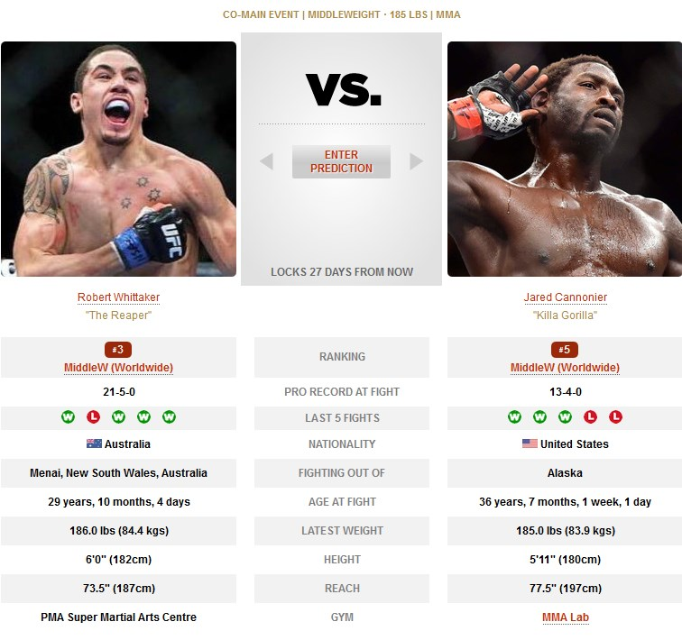 UFC 254 Robert Whittaker vs Jared Cannonier
